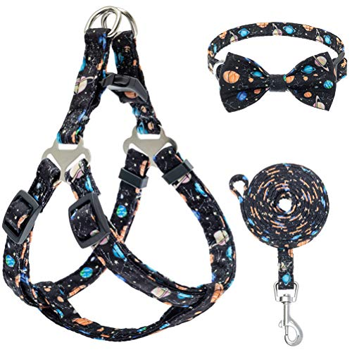 PUPTECK Dog Harness and Leash Collar Set - Adjustable and Soft No Pull Dog Harness, Bowtie Dog Collar for Small Puppy Dogs, Step in Puppy Halter Vest Harness with Galaxy Planet Pattern