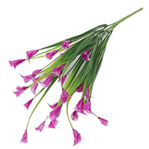 gzzebo Fleur de lys calla artificielle en plastique pour la maison, le jardin, le bureau, une fête, un mariage - 1 bouquet de 5 branches - Rose rouge