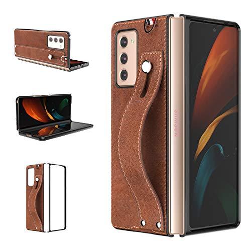 Foluu Für Samsung Galaxy Z Fold 2 5G Hülle, Galaxy Z Fold 2 5G Hülle 2020, [Slim und Lightweight] PU Leder Back Cover Hard PC Halter mit Handschlaufe Schutzhülle für Galaxy Z Fold 2 5G (Braun)