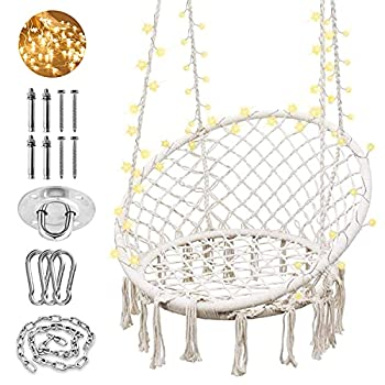 SURPCOS Hammock Chair with Lights and Durable Hanging Hardware Kit Exquisite Round Hanging Chair 100% Cotton Rope Macrame Swing Chairs for Indoor/Outdoor Bedroom Patio or Garden Max 550LBs Beige