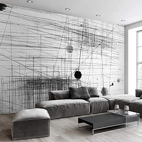 Fototapete Modernes Abstrakt Schwarz Weiß Linien Punkte Kunst Wandbild Tapete Wohnzimmer Home Decoration-250(W) X175(H) Cm