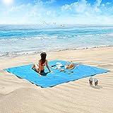 HOSPORT Manta de Playa Manta de Picnic Impermeable de Oxford - 215cm x 215cm para 4 Personas Manta Portátil a Prueba de Arena para Picnic, Playa, Senderismo, Camping y Parque, etc. (Azul)