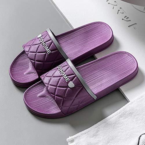 TDYSDYN Zapatillas Antideslizantes para Mujeres,Pareja de Sandalias y Zapatillas de Suela Blanda para Mujer, Zapatillas de baño Antideslizantes para Hombre-púrpura_38/39