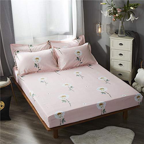 GUANLIDE king size dra-på-lakan, tryckt lakan justerbar, med elastiskt madrassöverdrag som passar enkel dubbel king size säng@puderblomma_120 x 200 cm