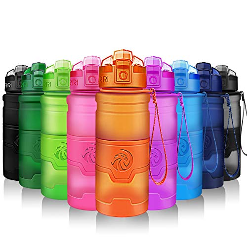 ZORRI Botella de Agua Deportiva - 400ml/500ml/700ml/1000ml sin BPA & a Prueba de Fugas, Reutilizable de plastico tritan, Agua Botellas Ideal con Filtro para niños Adulto, Correr 1-Click Apertura