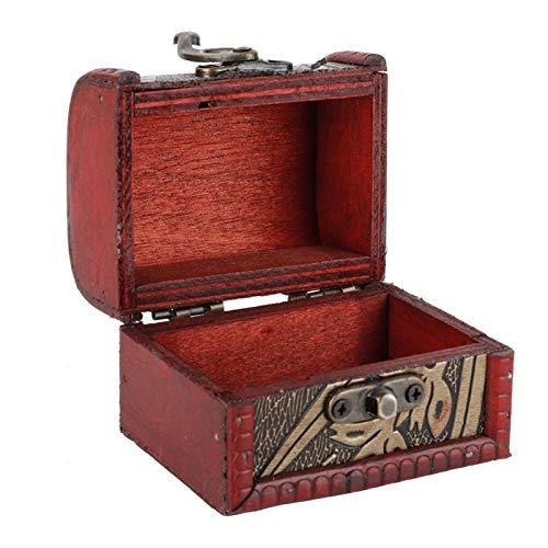 Cofre del Tesoro, pequeño Cofre del Tesoro Decorativo Antiguo joyero de Madera para decoración para Escritorio en casa(Narcissus)