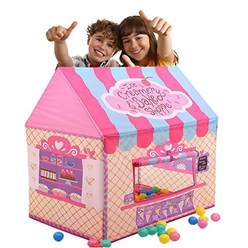 WishY Princesa Tienda De Castillo,Tiendas De Campaña para Niños con Puerta Y Ventana,Fácil De Doblar Cargar para Interior Y Exterior (100 * 70 * 110CM/39.4 * 27.6 * 43.3')