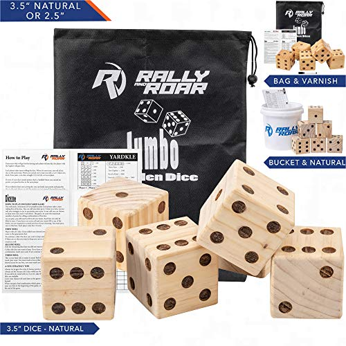 Rally and Roar Giant Dice Game Set for Adults, Families - Outdoor Wooden Dice Games Sets - Fun, Interactive Clean Family Games - Clean, Interactive Activities for Outside, Lawn, Bars, Backyards