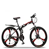 Bicicletas, Bicicletas de montaña para Adultos, Bicicletas con Freno de Disco Dual de 24/27 velocidades Bicicletas Deportivas para Hombres y Mujeres al Aire Libre (Color: Rosa, Tamaño: 24 PU