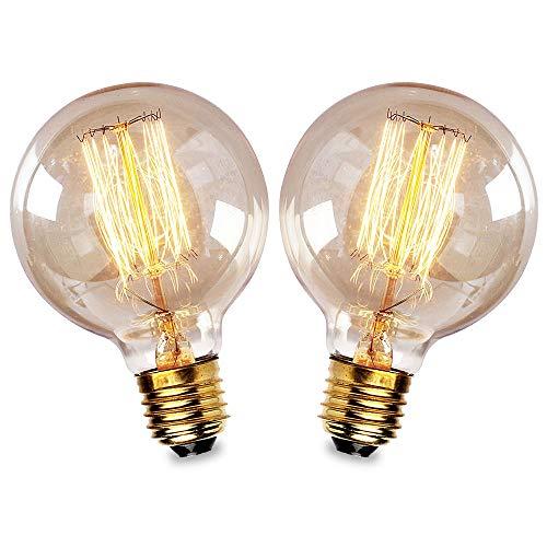 Bombillas Vintage E27 40W,Lampara decorativa retro Edison G80 regulable Bulbo Filamento Tungsteno Blanco cálido 2700-2900K - 2 Piezas (Alambre recto)