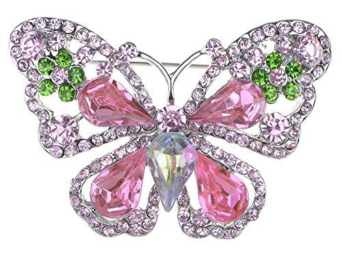 Alilang Rose Pink Peridot Green Crystal Rhinestone Butterfly Fashion Pin Brooch
