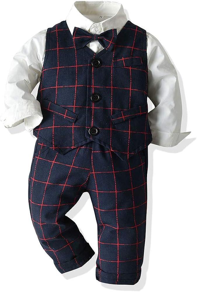 Tem Doger Little Boys Outfits Plaid Suit Cute Kids Pants Set Long Sleeves Bowtie Shirt Vest Boy Clothes 6 Months - 6 Years