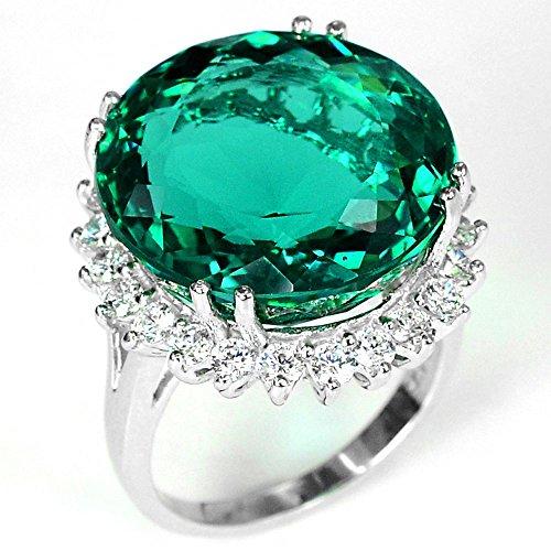 Jewelryamintra Fashion Women Silver Dark Green Emerald Gemstone Wedding Ring Jewelry (10)