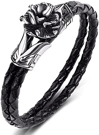Leather Braided Bracelet El Paso Mall Jewelry Punk Party St Bangles Stainless OFFicial site
