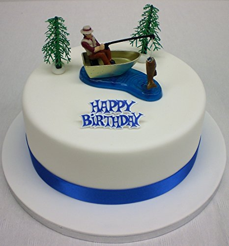 Fisherman Ornament Ribbon & Happy Birthday Motto Cake Topper Set