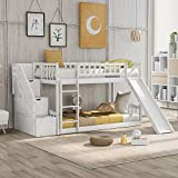 Merax Solid Wood Low Kids, Twin Stairway Bunk Bed with Two Drawers and Slide, White