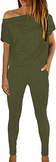 Fixmatti Women's One Shoulder Short Sleeve Long Pant Jumpsuit Army Green M