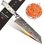 Jikko - Cuchillo de chef japonés Kiritsuke de 33 cm con hoja de acero Damasco de 67 capas, modelo mármol blanco, cuchillo de cocina de alta gama con mango ergonómico.