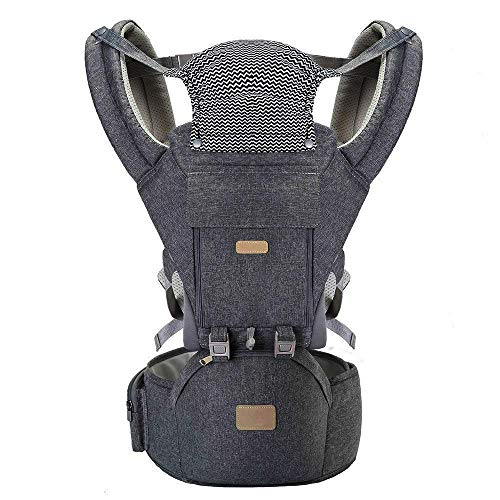 All Carry Positions Baby Carrier with Hood, Hip Seat, 360 Air Mesh, Pocket, Aitop Front and Back Pack Baby Carriers for Newborn to Toddler 8-33 lbs (36 Months), M Position for Shopping Travelling