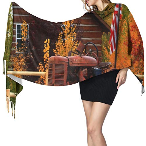 Warm Super Pashmina scarfFall,Rustic Cabin With Rusty Tractor Country Cottage House Seasonal Colors Us Flag Loyalty Soft Shawl Stole Wrap with Tassel