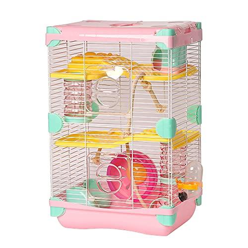 Roborowski - Gabbia per criceti, 27.7*20.5*42.5cm, gabbia per criceti, 2 piani con ruote, abbeveratoio, mangiatoia, colore: rosa