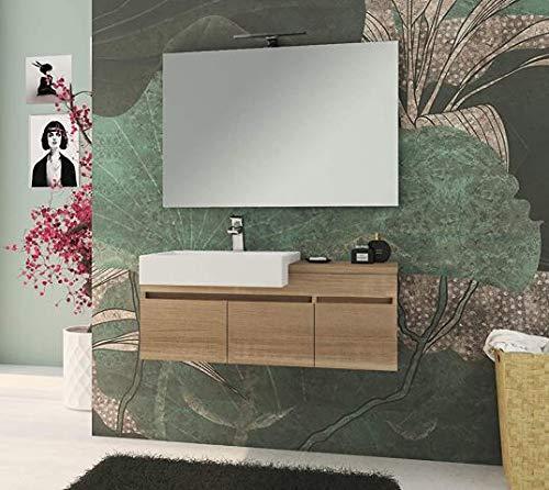 MANUTENCASA ITALIA free100 Mobile Bagno sospeso cm 100, lavabo in Ceramica Ampio Specchio con Lampada LED, Due Ampie Ante e cassetto Laterale