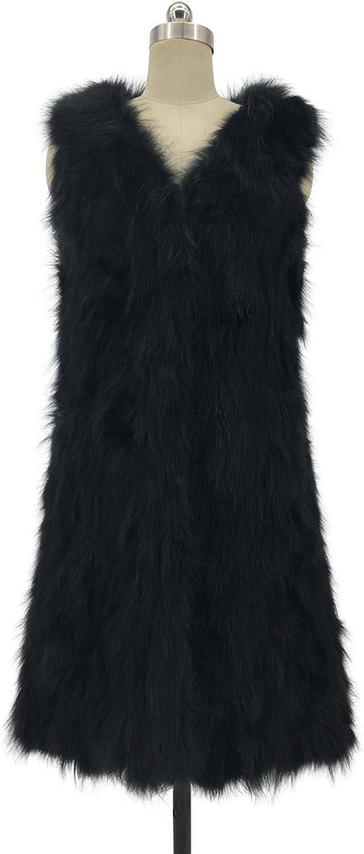 ETHEL ANDERSON Women Raccoon Fur Long Gilet Vest Winter Garment Warm Waistcoat Outwear