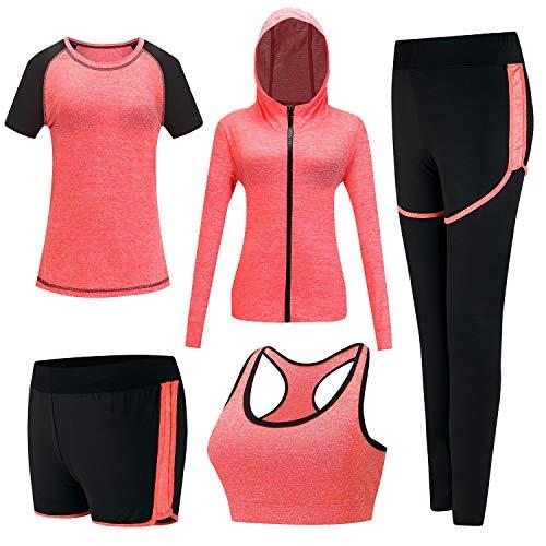 XPINYT 5pcs Trajes de Entrenamiento para Mujeres Sets Deportivos Trajes Deportivos Yoga Gimnasio Fitness Ejercicio Ropa Jogging Chándales, XL, gris