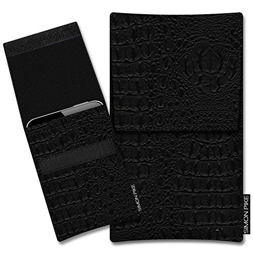SIMON PIKE Hülle Tasche kompatibel mit Microsoft Surface Duo (X) | Schutztasche Sidney in 01 schwarz Kroko aus Kunstleder Handyhülle