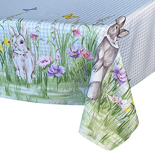 """Newbridge Bunny Meadow Easter and Spring Fabric Bordered Tablecloth - Adorable Bunny Rabbit and Blue Gingham Check Print Easy Care, Stain Resistant Fabric Tablecloth, 60"""" x 102"""" Oblong/Rectangle"""