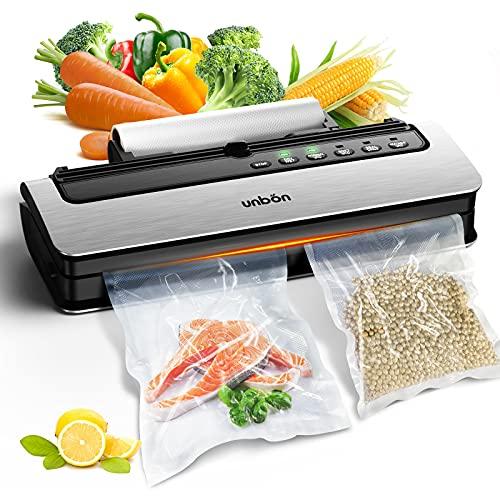 UNBON - Máquina al vacío, 6 en 1, dispositivo al vacío alimentario automático con cúter y rodillo de vacío, máquina de vacío con 20 bolsas para alimentos, carne y frutas