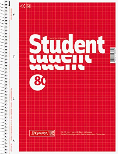 Brunnen 1067942 Notizblock / Collegeblock Student (A4, kariert, 70 g/m², 80 Blatt)