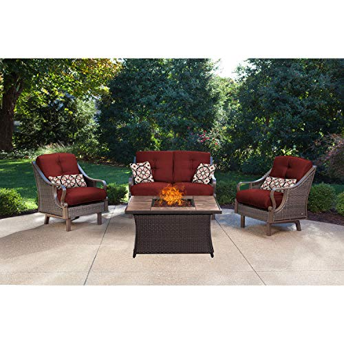 Hanover VEN4PCFP-RED-TN 4 Piece Ventura Chat Set Outdoor Furniture, Crimson Red with Stone Top Fire Pit