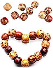 300 Stuks Printed Wood Beads Macrame Houten Kralen Houten Bedrukte Kralen Diy Bedrukte Kralen Wooden Beads For Handicrafts Round Beads In Wood Voor Doe-Het-Zelvers, Dromenvanger, Haarsieraad, 10 Mm