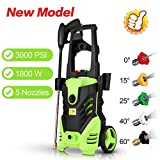 Homdox Zolko 3000 PSI Electric High Pressure Washer, 1800W Professional Power Washer,Portable Cleaner Machine with 5 Interchangeable Nozzles