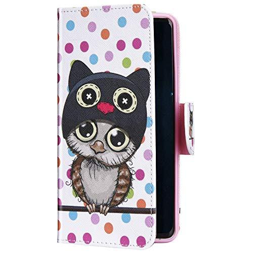 Uposao Kompatibel mit Samsung Galaxy S20 Hülle Leder Wallet Schutzhülle Brieftasche Hülle Bunt Retro Muster Flip Case Leder Tasche Handytasche Magnet Ständer Kartenfächer,Cute Eule