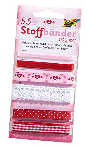 folia 12202 - Stoffbänder, 6 Stück, rot / rosa - ideal zum Dekorieren und Verzieren