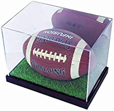 DisplayGifts Deluxe UV Acrylic Full Size Football Display Case Stand with Mirror (with Artificial Turf)