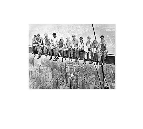 Leinwandbild Panorama Skylunch Keilrahmenbild, Bild auf Leinwand, Retro Foto Bauarbeiter (80x60cm), Mittagspause auf einem Wolkenkratzer, Lunch atop a Skyscraper