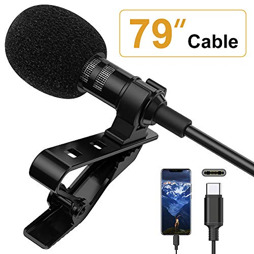 Microphone Professional for Android TYPE-C Lavalier Lapel Omnidirectional Condenser Mic Phone Audio Recording Easy Clip-on Mic for Youtube, Interview, Conference for Type-C Interface Device(6.6ft)