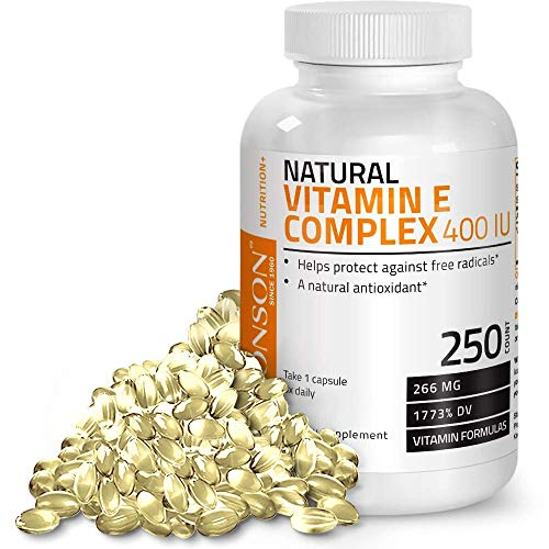 Natural Vitamin E Complex Supplement 400 I.U. (80% D-Alpha Tocopherol), Natural Antioxidant Helps Protects Against Free Radicals, 250 Softgels