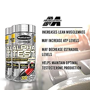 Testosterone Booster for Men   MuscleTech AlphaTest   Tribulus Terrestris for Men   Max-Strength ATP & Test Booster for Men   Boron Supplement for Men, 120 Pills (Package May Vary)
