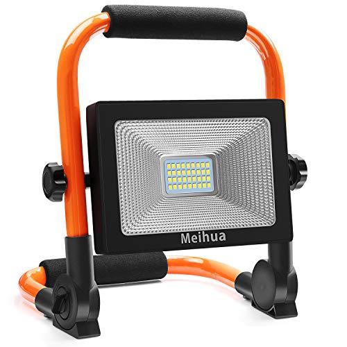 MEIHUA LED Flutlicht Camping 3400LM LED Baustrahler 30W LED Arbeitsscheinwerfer Arbeitsleuchte IP66 Wasserdicht LED 5M Kabel 6500K Tageslichtweiß Bauscheinwerfer für Werkstatt Baustelle Garage