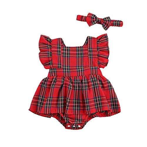 Newborn Baby Girl Christmas Dress Red Plaid Checked Ruffled Romper Dresses Skirted Bodysuit Cotton Clothes (B-Red, 0-6 Months)