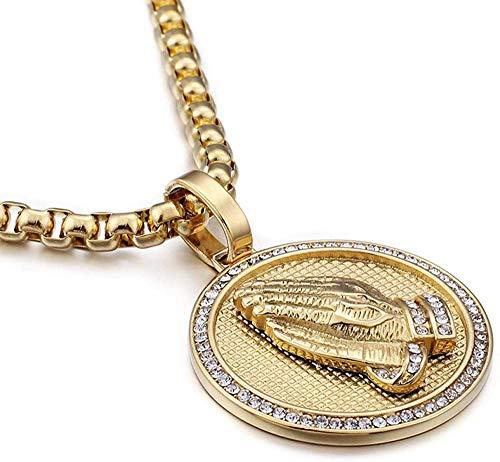 NC110 Collar con Colgante de bergamota Redondo de Acero Inoxidable para Hombre, joyería de Hip Hop, Suministro de Comercio electrónico transfronterizo YUAHJIGE