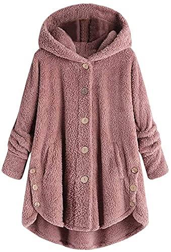 Suéter suelto para mujer con botón de la cola Tops con capucha, rosa, XXL