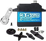 ZHITING Servo Motor Digital sin Núcleo de Alto par de 35 kg Engranaje de Metal Servo de Engranaje de Acero Inoxidable Impermeable para Coche Robótico RC - 270 Grados