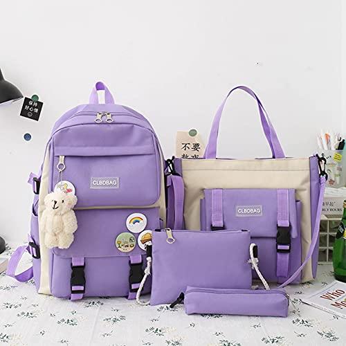 fuzhu 4PCS Kawaii Schulrucksack Combo Set, Canvas Tote Bag Schultasche mit süßem Bärenanhänger Geeignet für Mädchen im Teenageralter, Zurück zu Schulbedarf