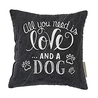 Primitives by Kathy Decorative Love and a Dog Chalk Throw Pillow, 10-Inch Square