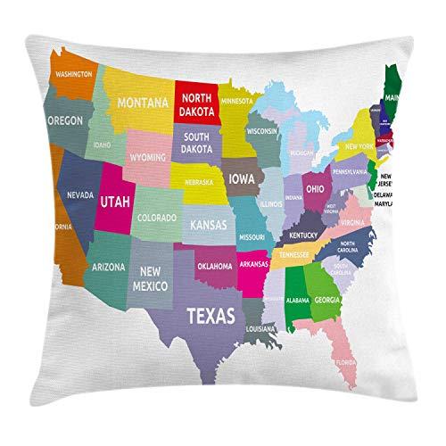 ABAKUHAUS Kaart Sierkussensloop, USA Map Kleurrijke Staten, Decoratieve Vierkante Hoes voor Accent Kussen, 40 cm x 40 cm, Veelkleurig